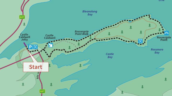 Castle Caldwell Rossergole Point Walk   Map